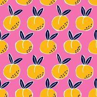 pêssego doodle padrão sem emenda