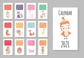 calendário mensal de 2021 com animais fofos vetor