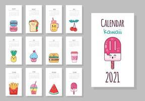 calendário mensal fofo com objetos de comida kawaii vetor