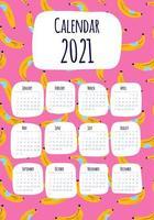Calendário vertical 2021 com impressão de banana vetor