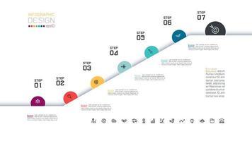 7 níveis de infográfico design com círculos coloridos