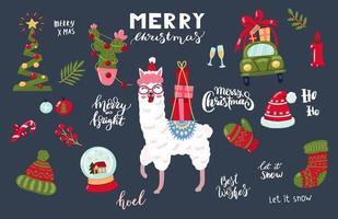conjunto de itens e lhama de Natal de mão desenhada