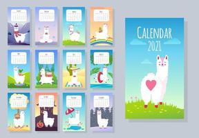 calendário mensal bonito de 2021 com lhama, alpaca vetor