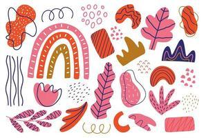 folhas isoladas doodles, pacote de flores, redemoinhos e pontos