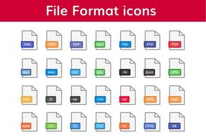 grande pacote de ícones de extensões de arquivo vetor