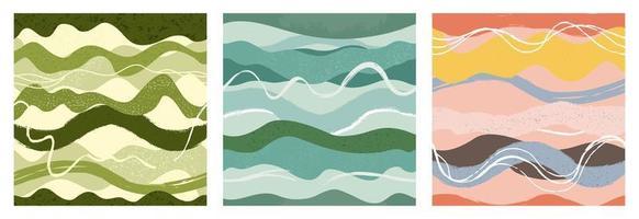 conjunto de padrões sem emenda de mão desenhada linha ondulada