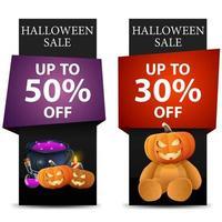 banners de venda de halloween com abóbora, caldeirão e ursinho de pelúcia