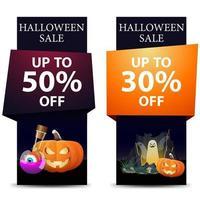 banners verticais de venda de halloween com abóbora, poção e fantasmas vetor