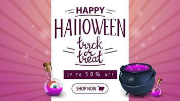 banner de desconto rosa de halloween com pote e poção da bruxa