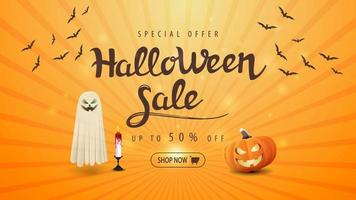 banner de venda laranja de halloween com abóbora jack e fantasma vetor