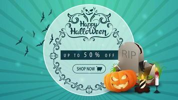 banner de desconto de halloween com lápide e abóbora jack vetor