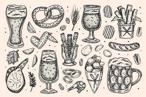 mão desenhada esboço estilo oktoberfest conjunto de elementos.