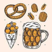 Oktoberfest mão desenhado conjunto de elementos.