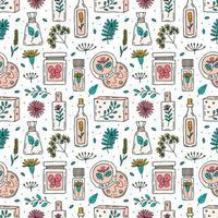 cosméticos orgânicos mão desenhada doodle padrão sem emenda vetor