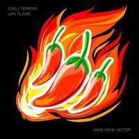 chili peppers com desenho de mão de chama vetor