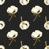 algodão flor mão desenhada sem costura padrão vetor