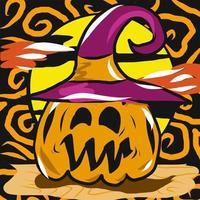 jack-o-lanterna com design de halloween de chapéu de bruxa vetor