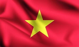 Bandeira 3d do Vietnã com dobras