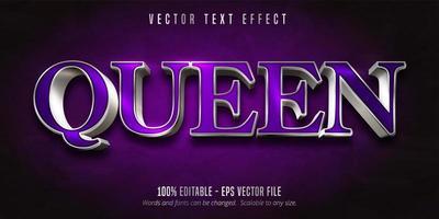 efeito de texto prata roxo e brilhante da rainha vetor