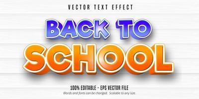 efeito de texto editável de estilo cômico de volta às aulas