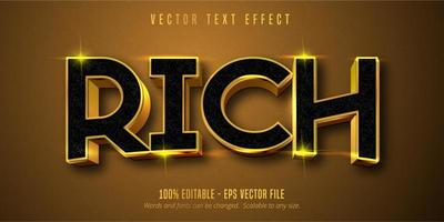 efeito de texto editável rico estilo ouro brilhante vetor