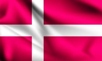 bandeira 3d da dinamarca vetor