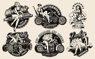 conjunto de meninas pin-up vintage vetor