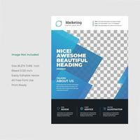 modelo de folheto geométrico azul de marketing