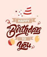feliz aniversário com balões vetor