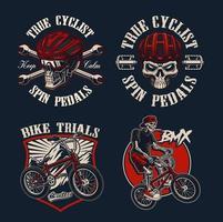 emblemas temáticos de bicicleta vetor