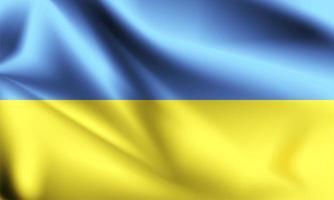 bandeira 3d da ucrânia com dobras vetor