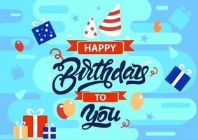 feliz aniversário para você fundo colorido vetor