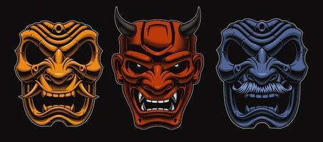conjunto de máscaras japonesas de samurais vetor