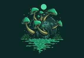 cogumelos fungos crescendo fora do crânio vetor