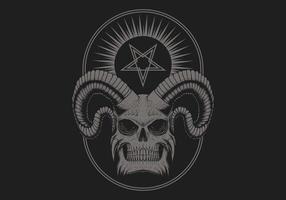 crânio satânico do diabo vetor