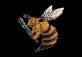 abelha zangada segurando o taco de beisebol vetor