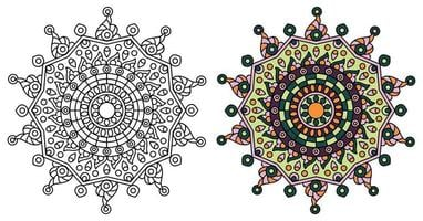 modelo de mandala de estrela arredondada para colorir vetor