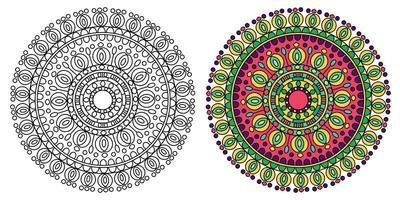 design redondo mandala amarela e verde vetor