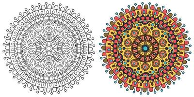 desenho de mandala redonda laranja e amarela para colorir vetor
