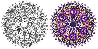 modelo de página para colorir colorido de mandala redonda vetor