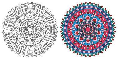 desenho de mandala redonda brilhante para colorir vetor