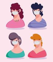 pessoas vestindo máscara protetora vetor