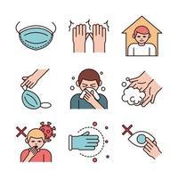covid 19 conjunto de ícones de prevenção de coronavírus