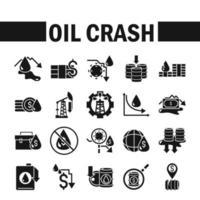conjunto de ícones de crise de queda de preço do petróleo