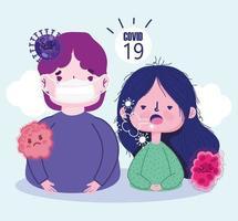 menina dos desenhos animados, tossindo e menino usando máscara