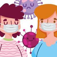 design pandêmico 19 secreto com menino e menina com máscara protetora vetor