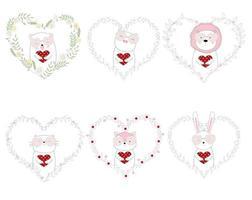 estilo desenhado à mão animais fofos segurar corações