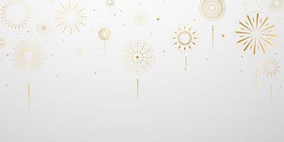 fogos de artifício dourados no gradiente cinza vetor