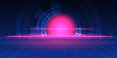 projeto abstrato tecnologia futurista com grade de perspectiva