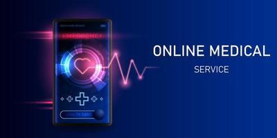 aplicativo de serviço médico on-line no smartphone vetor